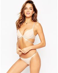 ASOS - Natural Basic Microfibre Mix & Match Moulded Strappy Plunge Bra - Lyst