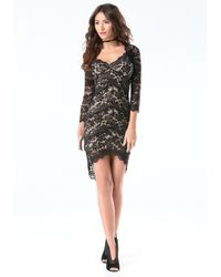 Bebe - Black 3/4 Sleeve Lace Panel Dress - Lyst