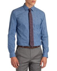 Ted Baker Blue Yeargud Paisley Print Button Down Shirt - Regular Fit for men