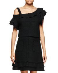 Proenza Schouler - Black Off-the-shoulder Ruffle Top - Lyst
