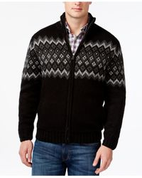 Weatherproof | Black Vintage Diamond Jacquard Sherpa-lined Full-zip Mock-neck Sweater for Men | Lyst