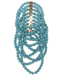 Noor Fares - Blue Turquoise and Diamond Bar Cuff - Lyst