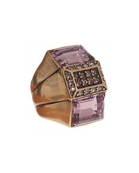 Oscar de la Renta - Metallic Crystal Baguette Ring - Lyst