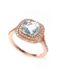 Effy | Blue 14k Rose Gold Aqua And Diamond Ring | Lyst
