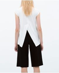 Zara   White T-shirt With Back Vent   Lyst
