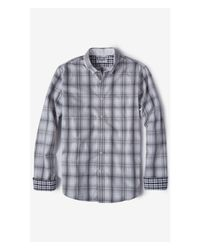 Express | Gray Plaid Soft Wash Shirt for Men | Lyst