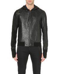 Alexander McQueen Black Embossed Leather Jacket for men