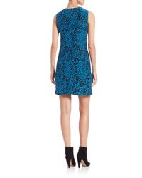 M Missoni Blue Silk Python-print Shift Dress