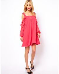 ASOS - Pink Cut Out Shoulder Dress With Ruffles - Lyst