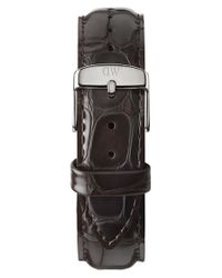 Daniel Wellington - 'classic York' 20mm Embossed Leather Watch Strap - Dark Brown/ Silver - Lyst