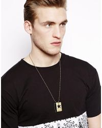 ASOS | Metallic Dog Tag Necklace with Cutout Star for Men | Lyst