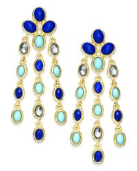 INC International Concepts - Gold-tone Turquoise And Blue Bead Chandelier Earrings - Lyst