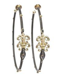 Armenta Diamond Blue Sapphire Hoop Earrings