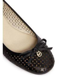 MICHAEL Michael Kors Black 'Olivia' Floral Perforated Leather Ballerinas