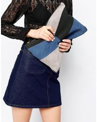 Faith Blue Patchwork Clutch Bag In Suede
