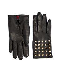Valentino - Black Allover Studded Leather Gloves - Lyst