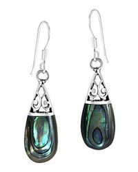 Aeravida | Green Filigree Swirl Teardrop Abalone Shell Inlay .925 Silver Dangle Earrings | Lyst