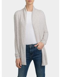 White + Warren Gray Cashmere Vent Back Cardigan