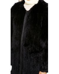 Elizabeth and James Tarra Solid Fur Coat - Black