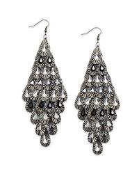 Material Girl Gray Gunmetaltone Crystal Teardrop Diamondshaped Chandelier Earrings