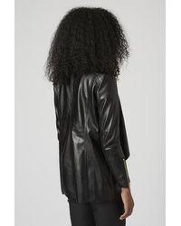 TOPSHOP Black Pu Waterfall Jacket By Rare