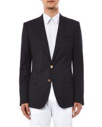 Dolce & Gabbana Gray Martini-Fit Gold Button Blazer for men