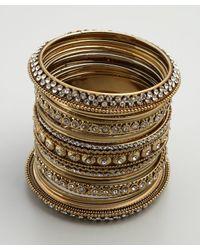 Chamak by Priya Kakkar - Metallic Set Of 24 Gold Glitter and Crystal Bangles - Lyst