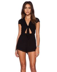 Oh My Love - Black Tie Front Playsuit - Lyst