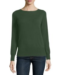 Neiman Marcus | Green Long-sleeve Bateau-neck Cashmere Top | Lyst