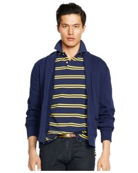 Polo Ralph Lauren - Blue Fleece Shawl Cardigan for Men - Lyst
