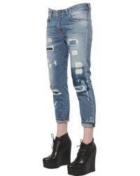 Frankie Morello Blue Boyfriend Fit Cotton Denim Jeans