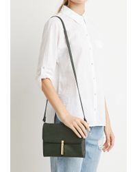 Forever 21 | Green Faux Leather Kiss-lock Crossbody | Lyst