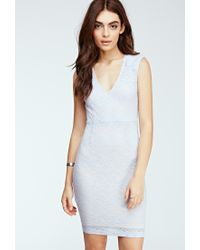 Forever 21 | Gray Floral Lace Bodycon Dress | Lyst
