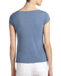 Eileen Fisher - Blue Silk Capsleeve Scoopneck Top - Lyst