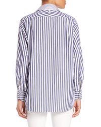 Rag & Bone   Blue Striped Cotton Boyfriend Shirt   Lyst