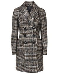 TOPSHOP | Black Checked Double Breasted Wool Blend Coat | Lyst