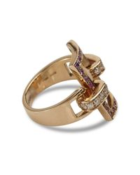 Spallanzani | Metallic Rose Gold And Pink Pave Sapphires Manette Ring | Lyst