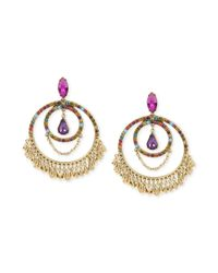 Betsey Johnson - Metallic Goldtone Multicolor Crystal Large Gypsy Hoop Earrings - Lyst