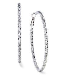INC International Concepts - Metallic Silver-tone Textured Hoop Earrings - Lyst