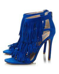 Steve Madden Blue Fringly Suede Fringed Court Shoes