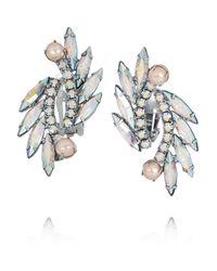 Elizabeth Cole | Metallic Simone Rhodium-Plated Swarovski Crystal Clip Earrings | Lyst