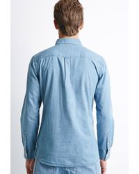 Forever 21 | Blue Button-collar Chambray Shirt for Men | Lyst