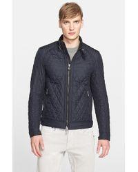 Belstaff - Blue 'bramley' Water Resistant Quilted Moto Jacket for Men - Lyst