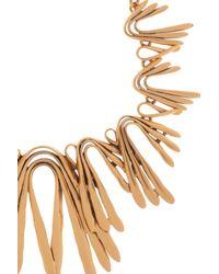 Oscar de la Renta Metallic Gold Twist Spike Bib Necklace