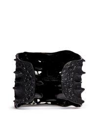 Lynn Ban   Black Crocodile Rhodium Silver Cuff   Lyst