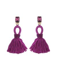 Oscar de la Renta | Purple Short Silk Tassel Earrings | Lyst
