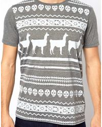 ASOS - White Stripe Tshirt with Skull Pattern for Men - Lyst