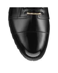 Jimmy Choo Haze Flat Black Shiny Calf Leather Combat Boots
