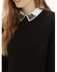 Oasis - Black Embellished Collar Jumper - Lyst