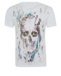 Alexander McQueen - White Feather Skull Print T-Shirt for Men - Lyst